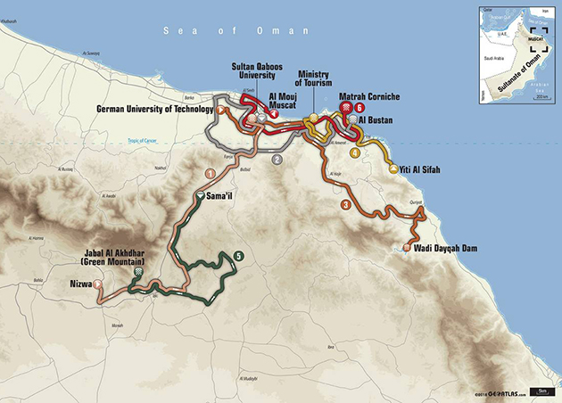 2018 Tour of Oman map